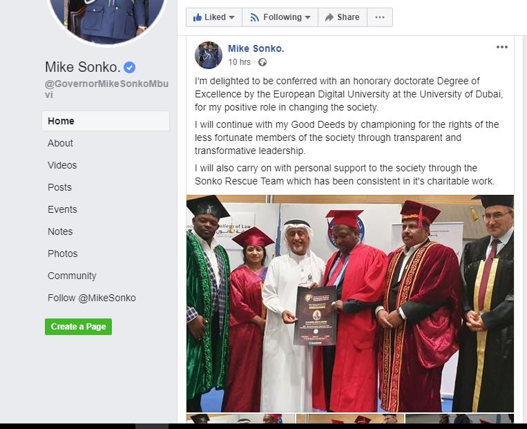 Gov. Mike Sonko awarded a doctorate degree in Dubai