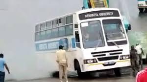 Shock as Kenyatta University bus almost plunges into Indian Ocean(VIDEO)